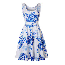 Summer Fashion Women Sleeveless Casual Tank Dress Floral Dress Ladies Sun Short Dress fashion floral imprint sleeveless skater dress