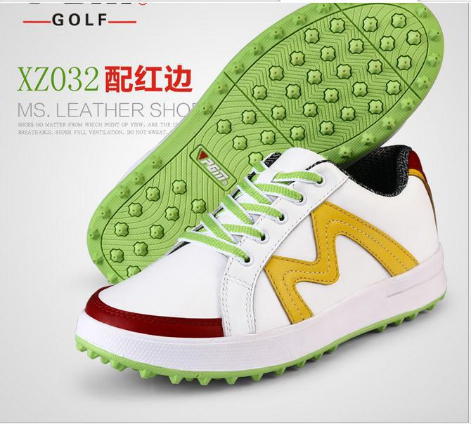 ФОТО Genuine PGM golf shoes female leather super light shoes Golf waterproof  non slip shoes