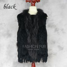 2018 New 17 Colors Women Genuine Knitted Rabbit Fur Vests With Tassels Raccoon Trimming Waistcoat Wholesale Drop Shipping Hn82