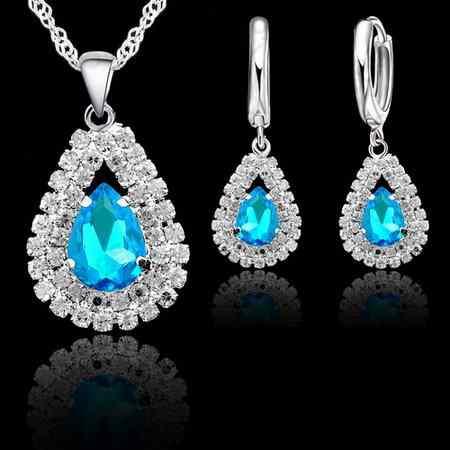 """Perhiasan Set Biru 925 Sterling Silver Liontin Kristal Kalung 18 """"Chain Hoop Anting-Anting Tuas Kembali Wanita Hadiah Aksesoris"""
