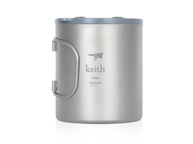 Keith Ti3356 New Double-wall Titanium Mug Camping Cup Water Cup 600ml 138g KS816 keith pure titanium double wall water mugs with folding handles drinkware outdoor camping cups ultralight travel mug 450ml 600ml