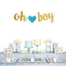 О мальчик девочек письма и сердца висит гирлянды Пол выявить для Дня Рождения овсянка строка заголовка флаги Baby Shower Вечерние украшения