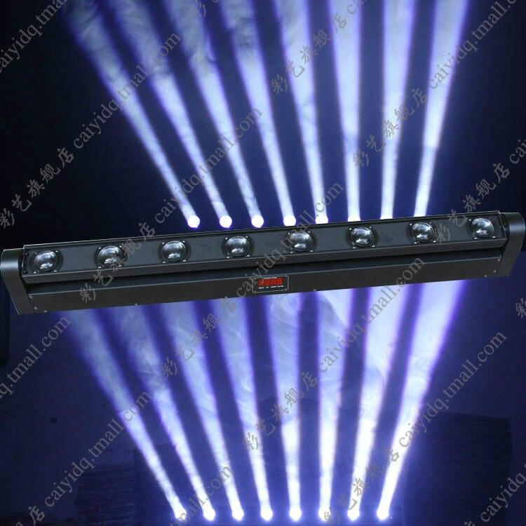 Lumière principale mobile blanche de faisceau de 8x10 W faisceau mobile de 8 têtes RGBW 4-en-1 LED s lumières facultatives de balayage de faisceau de barre mobile de LED
