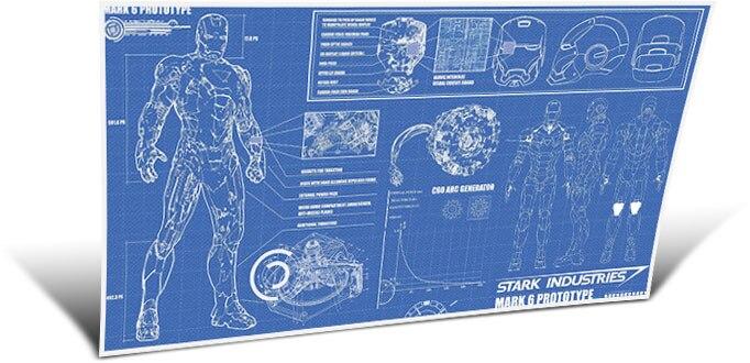 "Iron Man Armor Mark VI poster 44/""x24/"" Poster 005 Blueprint"