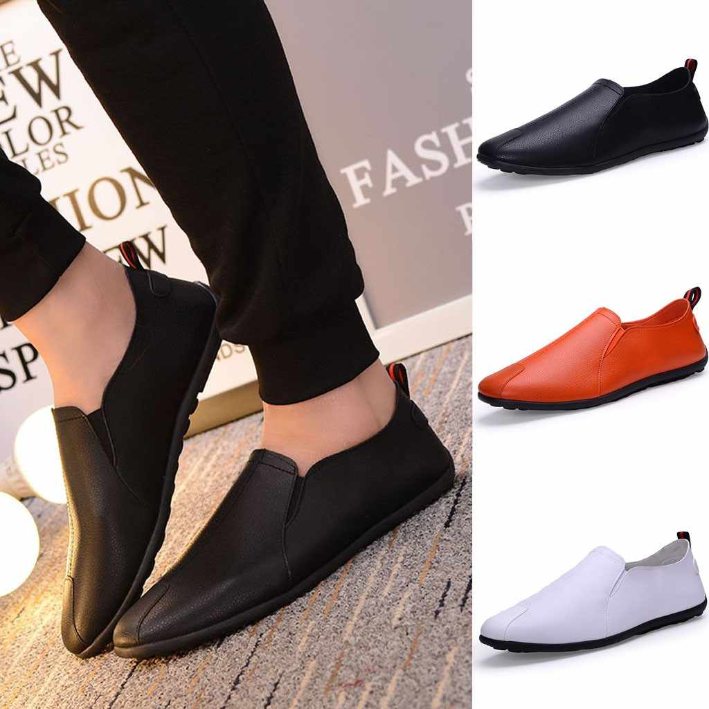 Fashion Men Leather Casual Slip-On Breathable Driving Boat Shoes Dress  sport shoes men 2018 casual shoes men sneakers