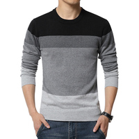Autumn New Style Sweater Men Winter Fashion Spell Color Round Neck Slim Pullover Men Convenient And