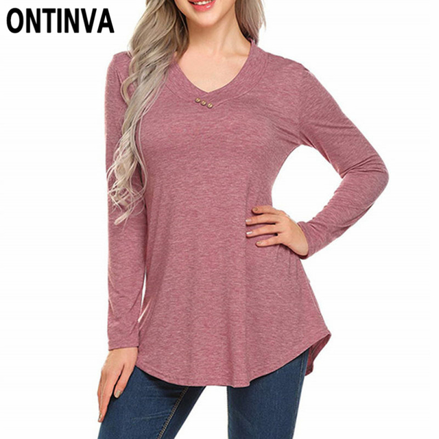 9b459037dfc4 Women V Neck Long Sleeve Tshirt Ladies Plus Size 4XL 3XL XL 2019 Feminino T  Shirt Solid Color Button Casual Loose Tops Shirt Tee
