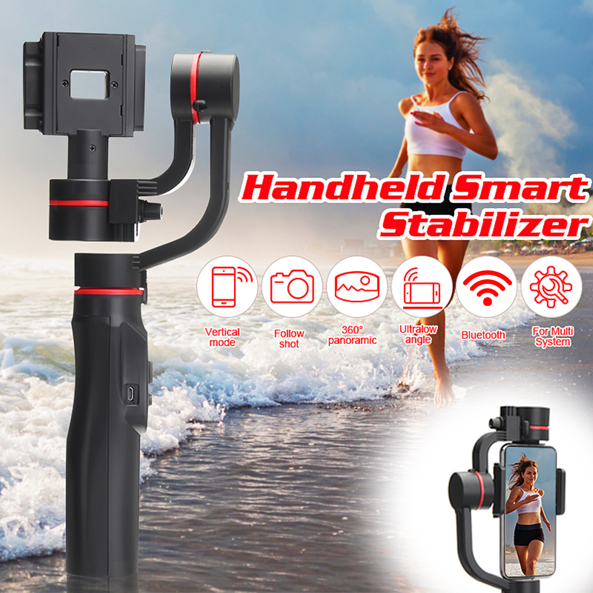 Freya Handheld 3-Axis Gimbal Stabilizer For Smartphone Smooth Q Model For Phone Action Camera-Gopro Tripod Microphone LED wewow sport x1 handheld gimbal stabilizer 1 axis for gopro hreo 3 3 4 smartphone iphone 7 plus yi 4k sjcam aee action camera