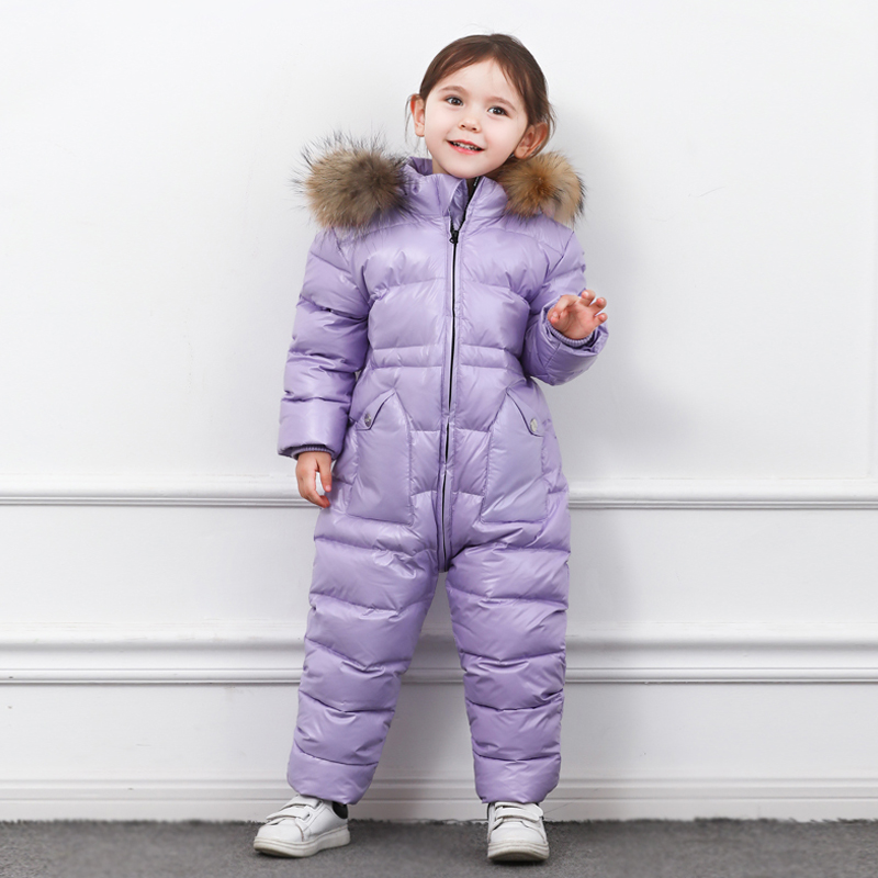New 2019 Russia Winter  Boys Clothing Waterproof Down Warm Jacket  For Girls Kids 7 Color Thick Jumpsuit Coats  White Duck Down