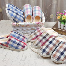 2016 New Unisex Plaid Winter Slippers Super Thick Cotton Indoor/Floor Slippers Men Women Home House slippers Soft Sole Warm GG13
