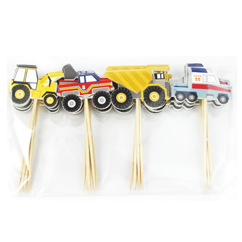 24Pcs Cake Card Cupcake Picks Cake Dessert Inserted Card Prod With Car Tractor Pattern  Kids Party Cakes Decorating Tool