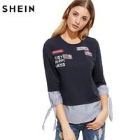 SheIn Women T Shirt Womens Clothing Navy Striped Trim Tie Three Quarter Length Sleeve T Shirt