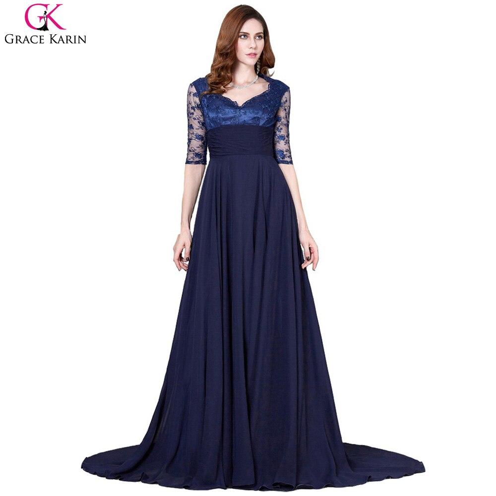 Grace karin elegant long evening dress chiffon lace half for Navy evening dresses for weddings