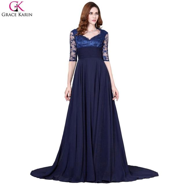 Grace Karin Elegant Long Evening Dress Chiffon Lace Half Sleeve Navy Blue Mother Of The Bride