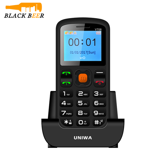 Uniwa V708 Charging Cradle Senior Kids Feature Keypad Mobile Phone 2G GSM Push Big SOS Large Button Key Cellphone Bluetooth 2.0
