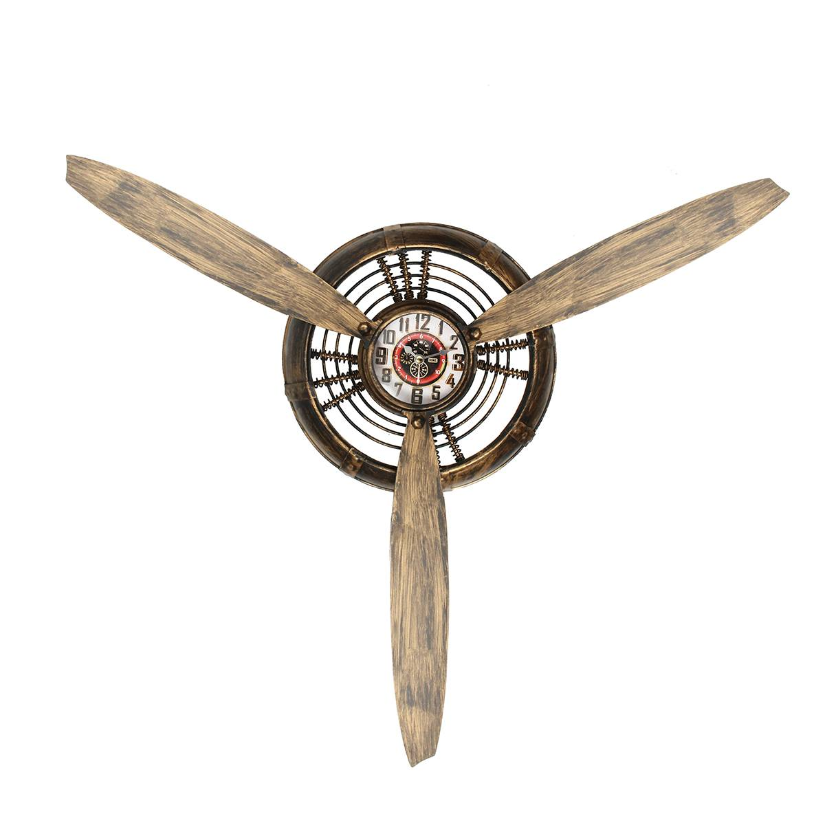 Wall Clock Vintage Decorative Metal Bar Home Living Room Decor Air Plane Propeller Europe Industrial Wall Hanging Ornament Art
