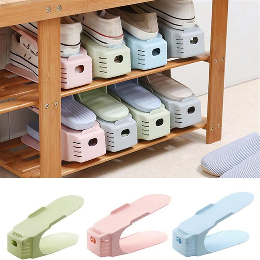 Multi-colored Display Rack Shoes Organizer Space-Saving Plastic Rack Storage
