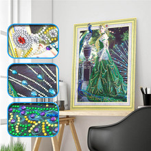 Special shape diamond painting DIY 5D part cross stitch set girl crystal rhinestone series embroidery
