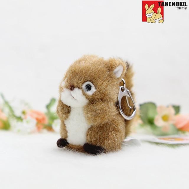 TAKENOKO ESTARTEK TA065 6 cm Esquilo Bonito Pingente Boneca Bichos de pelúcia Brinquedos de Pelúcia Decoração Do Carro Chaveiro Presente do Dia Dos Namorados