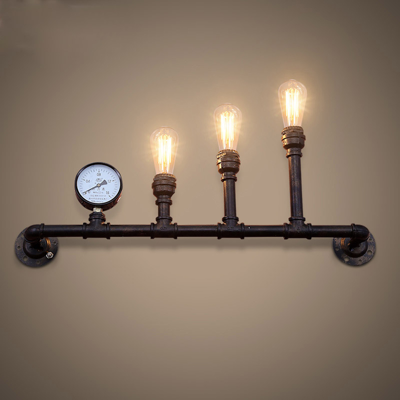 Industrial retro loft iron water pipe wall light coffee shop bar study restaurant pub cafe wall lamp bra vintage wall sconce большое кашпо keter cozies l бежевый