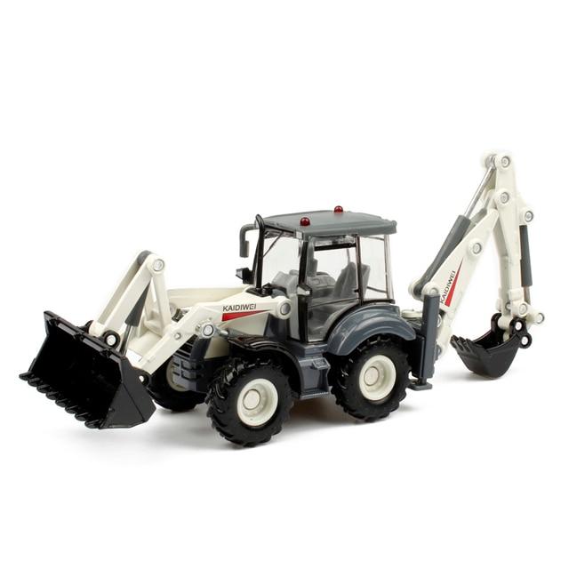 Alloy Diecast Excavator 1:50 4 Roda Backhoe Shovel Dua Arah Forklift Bulldozer Kembali Hoe Loader Model Truk untuk Anak-anak mainan Hadiah