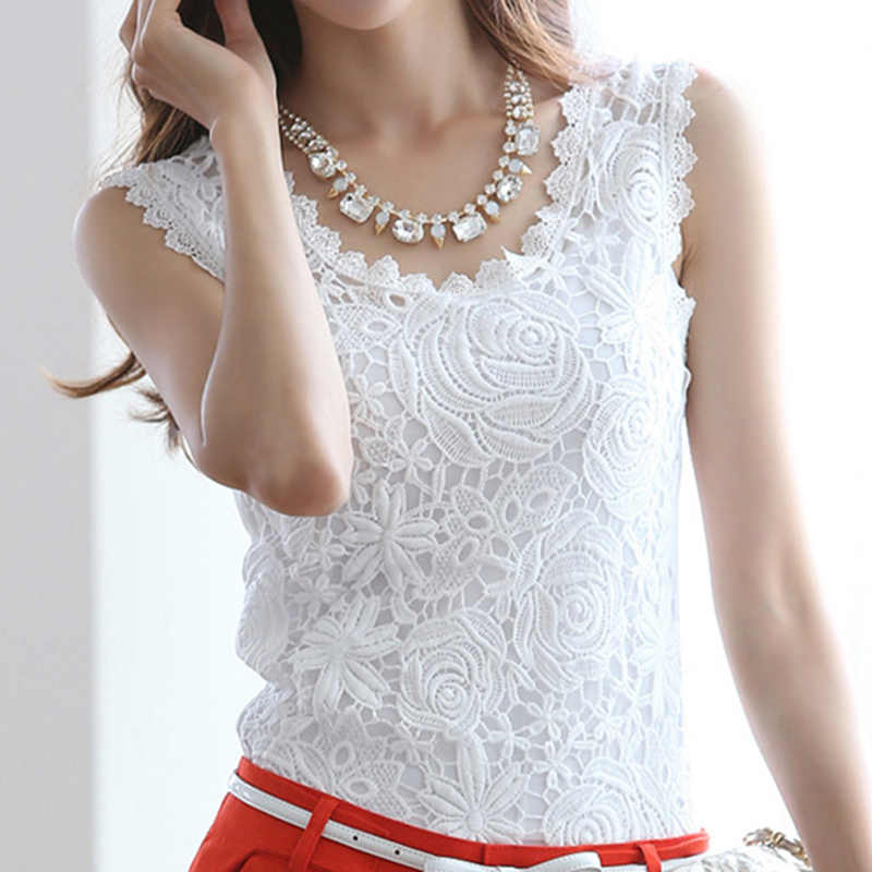 Summer Flower Lace Womens Tops And Blouses Hollow Out Women Sexy Blouse Shirt Sleeveless White Black Blusas Mujer Plus Size 4xl