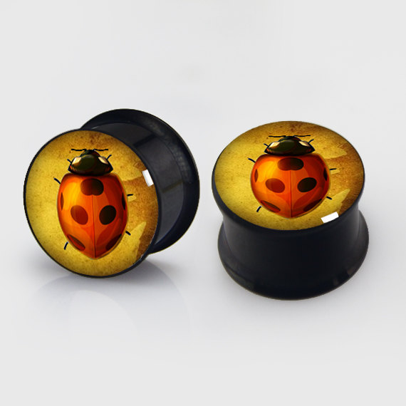 2 pieces ladybug plugs anodized black ear plug gauges steel flesh tunnel earlets body piercing jewelry 1 pair