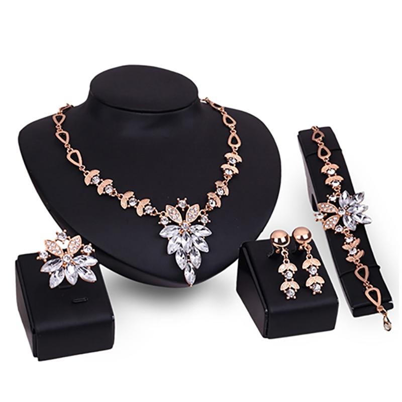 Women's Wedding Jewelry Sets Clear Crystal Ring Earrings Bracelet Necklace Stainless Steel Jewelry Sets bijoux femmes dubai