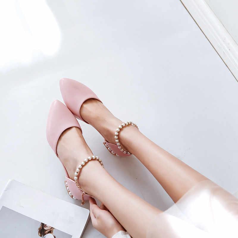 YMECHIC קיץ 2018 ליידי נמוך עקבים נעלי חתונה לבן ורוד כלה קרסול מחרוזת חרוז משאבות נשים נעליים מזדמנים משאבות בתוספת גודל