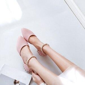 Image 2 - Ymechic sapatos femininos de salto baixo, calçados para moças, branco, rosa, de noiva, com cordão, para mulheres, casual, verão 2018 tamanho do tamanho