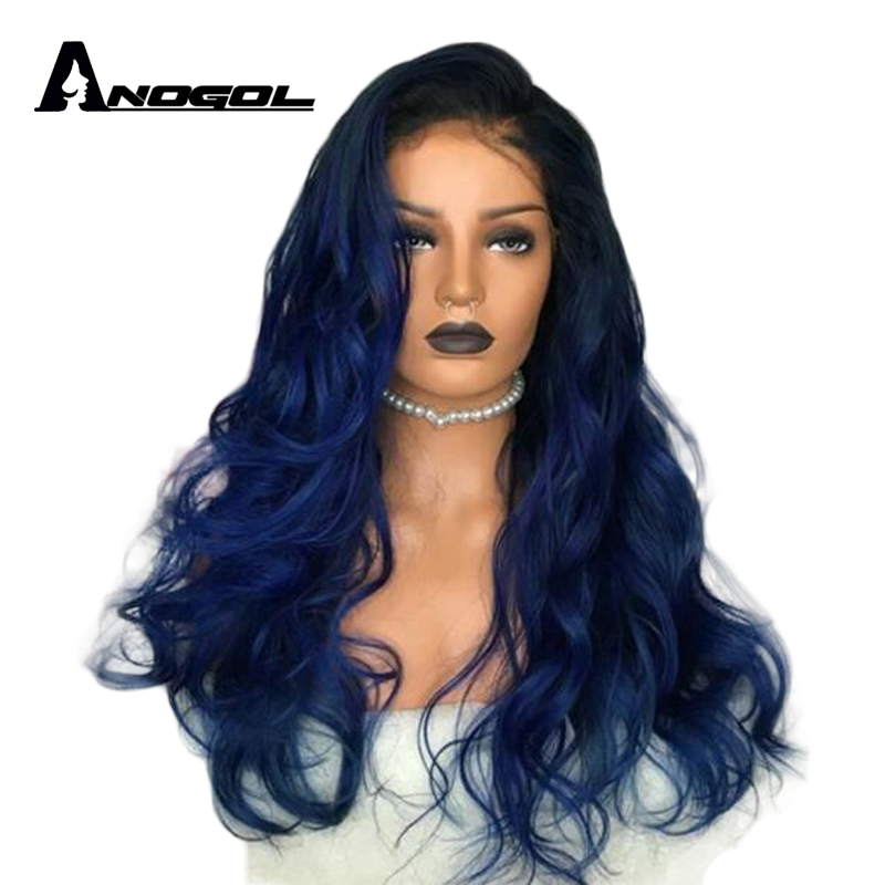 Anogol High Temperature Fiber Long Body Wave Black Ombre Blue Middle Part Synthetic Lace Front Wig For Women Halloween Cosplay