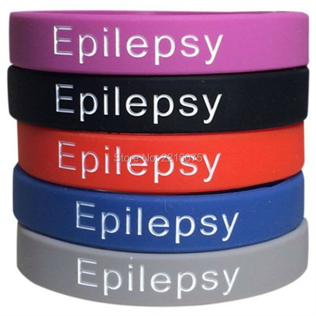 300pcs Purple Black Red Blue Grey Medical Alert Epilepsy Silicone Wristband Rubber