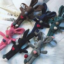 2019 New Creative Cute Rabbit Keychain Corduroy Key Chain Bag Charm Car Pendant Ring Girl Birthday Gift