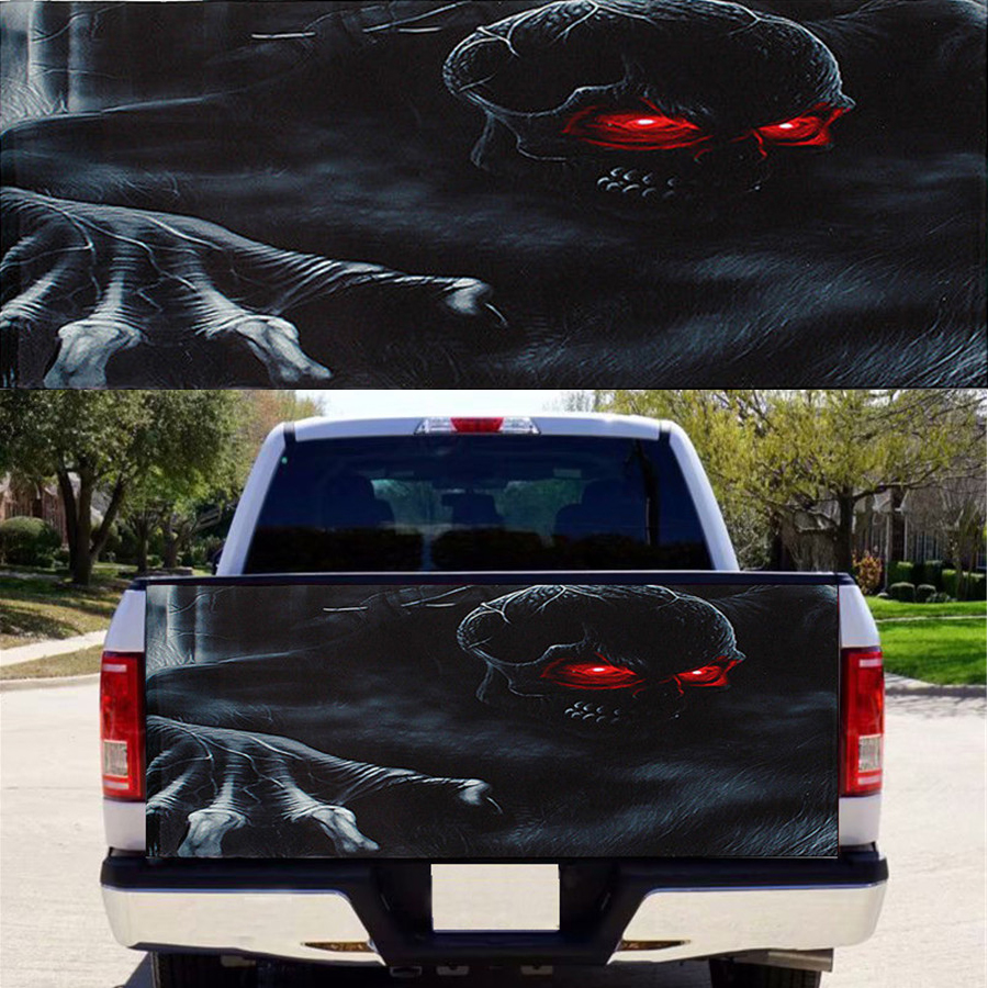 Car Truck SUV Flaming Skull Rear Window Tint Graphic Decal Wrap Back 147x46cm
