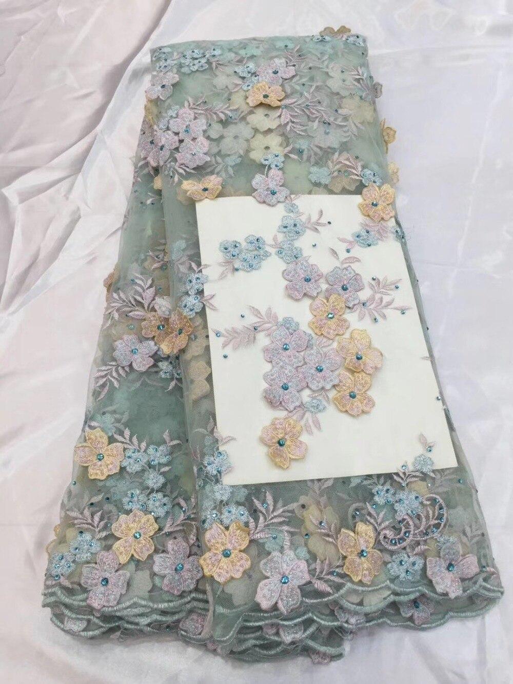 Dentelle française de mariée tissu perlé africain tulle dentelle tissu gland dentelle avec des pierres 5 yards par lot net dentelle tissu pour robe.