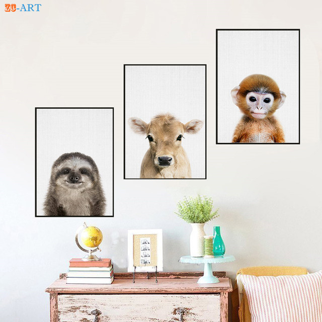 Modern Baby Sloth Cow Rac Prints Calf Picture Farmhouse Nursery Wall Art Canvas Painting Kids Bedroom