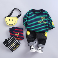Spring striped T shirt jeans children's clothing 1 year old 2 years old 3 years old cartoon suit christmas outfits kids Casual