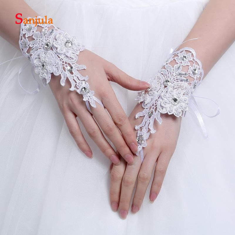 Pearls Beaded White Bridal Lace Wrist Gloves Fingerless Rings Back Lace Up Wedding Gloves Robe Mariage Femme Blanche G36 Bridal Gloves Wedding Accessories