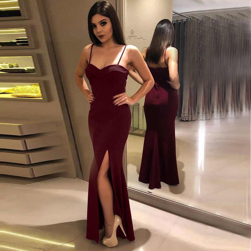 Foto Real de Longo Sereia Vestidos de Baile 2019 Sempre Bonitas das Mulheres Spaghetti Strap Barato Prom Vestidos de Festa