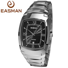 EASMAN Mens Tungsten Watches Luxury Sapphire Glass Silver Black Waterproof Date Show Dress Business Wrist Watches for Men