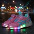 Novo 2016 Crianças Rodas Sapatos Moda Casual Respirável Com LED Patins Crianças Boys & Girls Sneakers Roda