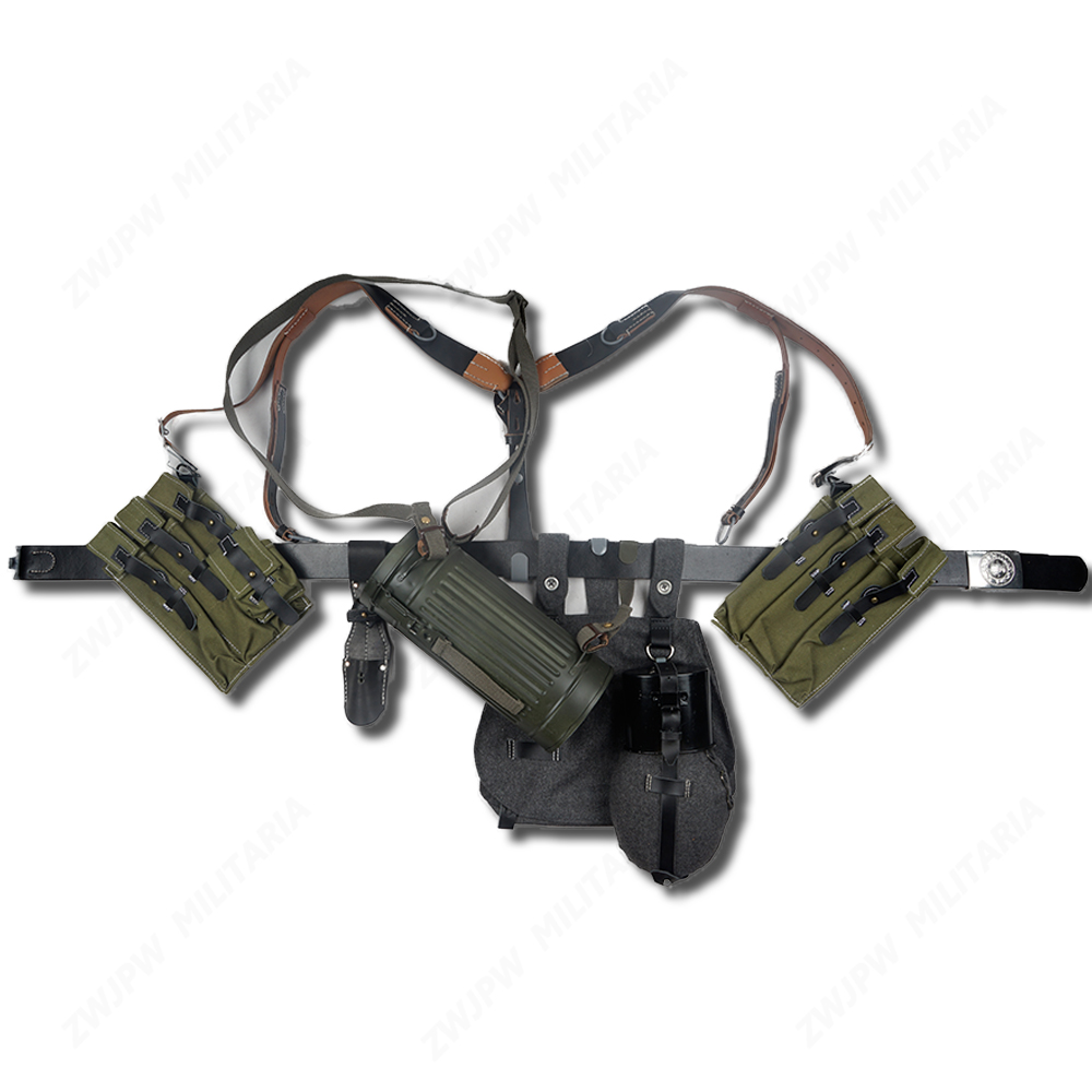 GERMAN P38 P40 CANVAS BAG EQUIPMENT COMBINATION SOLIDER BELT AND Y STRAPS
