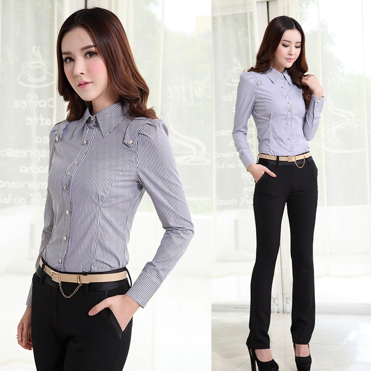 Formal Pantsuits Women Work Wear Suits Pant And Shirt Sets Fashion Ladies Professional Office ...