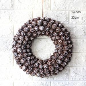 Image 2 - Navidad 2018 Natural Christmas Wreath Handmade Craft Door Wreaths Snow Christmas Decorations for Home halloween Party Wreath
