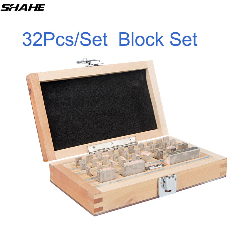 shahe 32Pcs Set 1 grade 0 grade Inspection Block Gauge Test Caliper Blocks Measurement Instruments