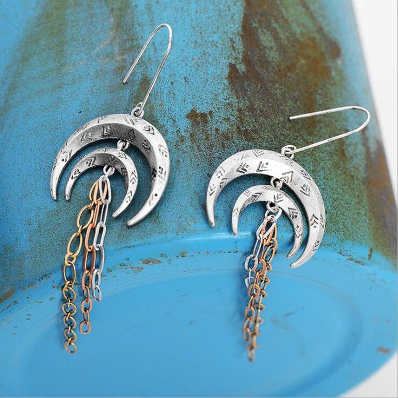 Banny Pink Vintage Alloy Double Crescent Dangle Earring Walking Moon Pendant Drop Earrings Ethnic Metal Tassel Earring Pendiente
