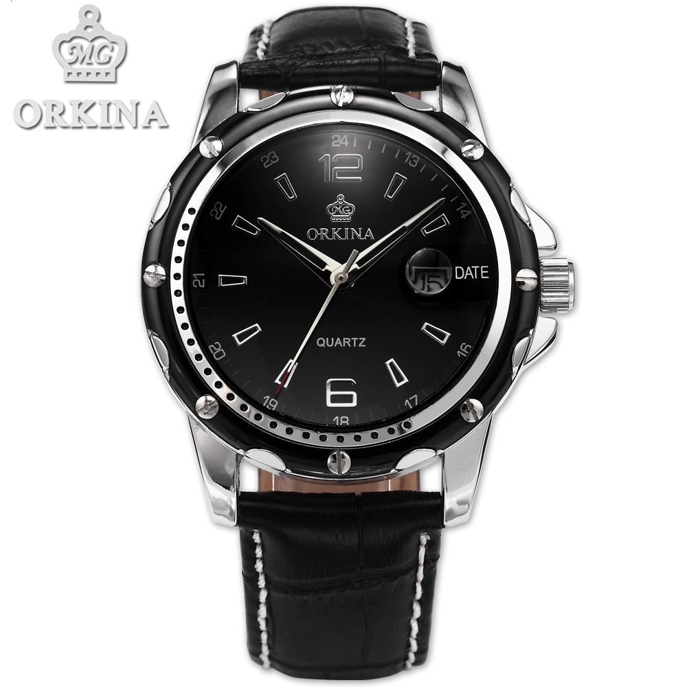 цены  Orkina Men Clock Black Leather Auto Date Quartz Saat Watch Men's Relogio Masculino Men Montre Watches Erkek Kol Saati