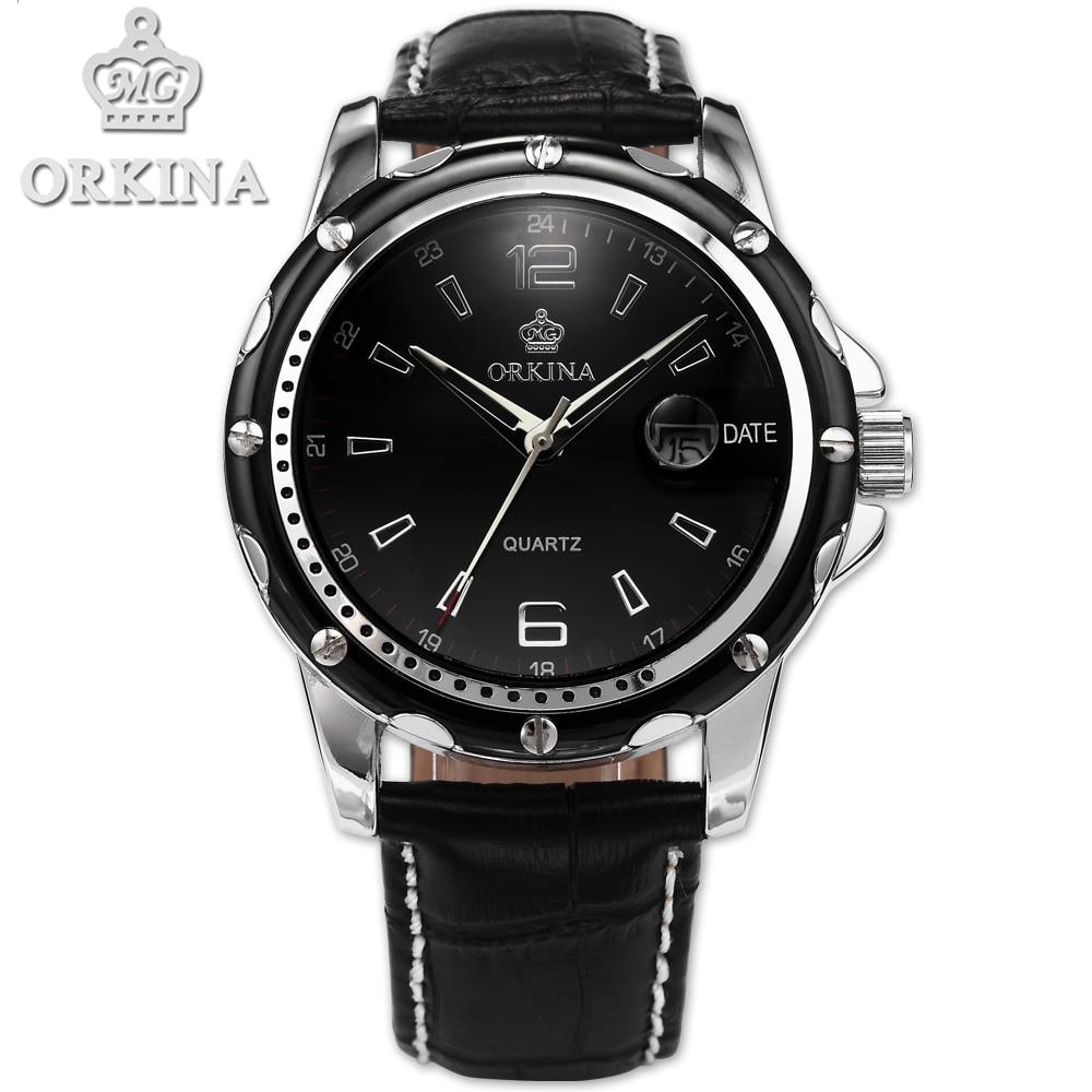 цены  Orkina Men Clock Black Leather Auto Date Quartz Saat Watch Men's Relogio Masculino Men Montre Watches Erkek Kol Saati