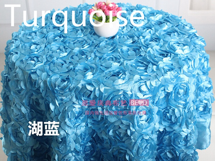 Turquoise colour wedding table cloth embroider rosette flower 3D table cover hotel banquet party round tables decoration on sale