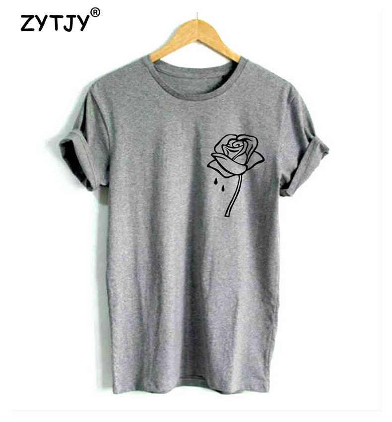 HTB1XJd PVXXXXc6XpXXq6xXFXXXc - Rose flower pocket Print Women tshirt Cotton Casual